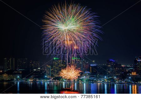 Fireworks New Year Celebration At Pattaya Beach