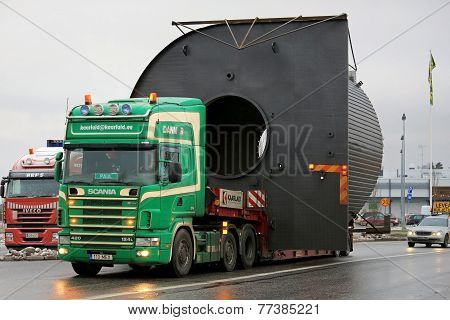 Scania 124L Truck Hauls A Wide Load