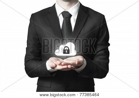 Businessman Serving Gesture Cloud Security