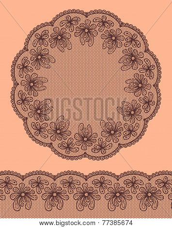 Round Lacy Frame On Beige Background With Lacy Bottom Border.