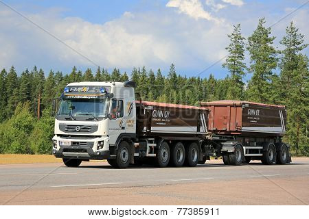 Volvo FMX Construction Trailer Truck On The Road