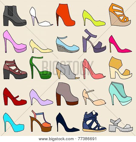 Set Of 25 Fashionable Shoes