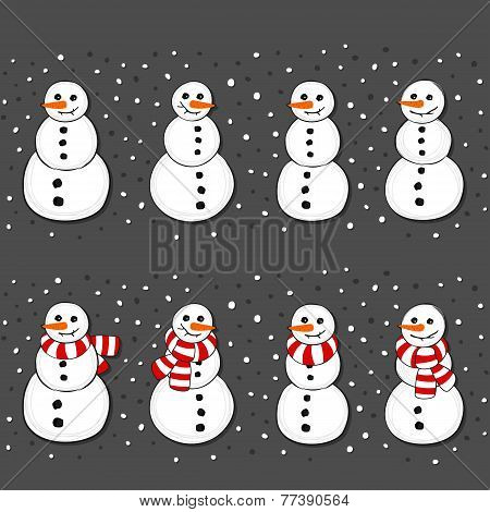 Snowmen and snowmen with stripped scarfs Christmas winter holidays horizontal border set on dark