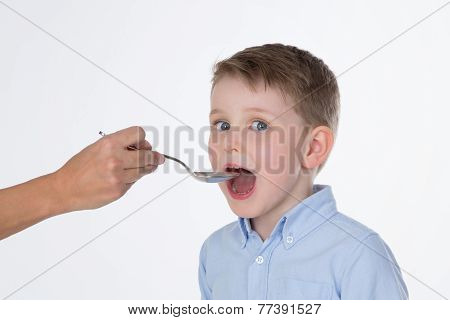 Sick Male Kid On Isolated Background