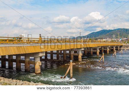 Uji Bridge in Uji Diostrict in Kyoto Japan