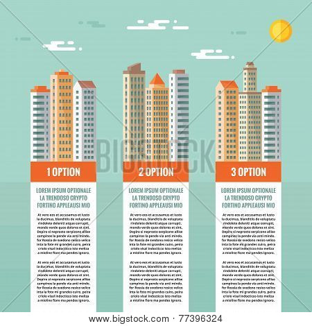 Buildings - infographic vector concept. Numbered options, vertical blocks. Buildings illustration in