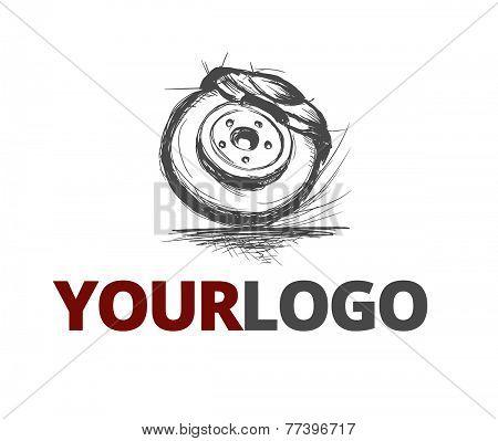 Car repair company vector logo, auto part pencil painted, brake wheel.