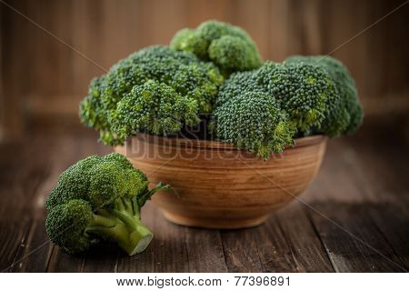 Brocoli In A Bowl On A Wooden Background