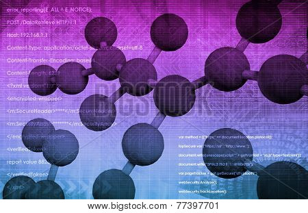 Molecule DNA Cell in Wireframe Mesh Art