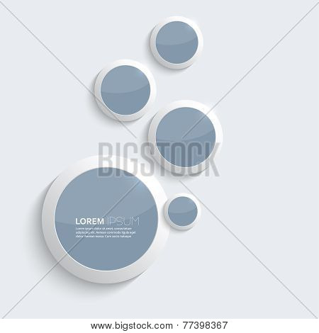 Blue plastic shiny, glossy  rings on gray background.