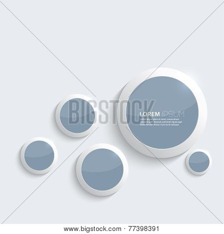 Blue plastic shiny, glossy  rings on gray background