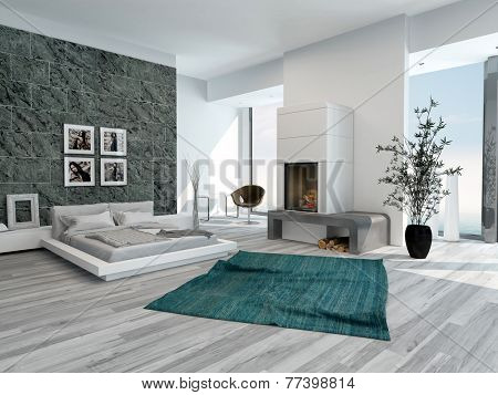 3D Rendering of Stylish modern bedroom interior with a large double bed, grey decor and a wooden parquet floor with large light windows flanking an open chimney