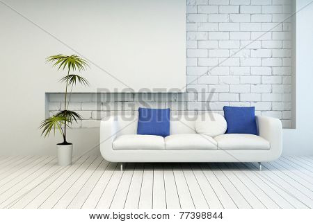 3D Rendering of Fresh Green Plant Near White Couch with White and Blue Pillows at Architectural Living Room with White Wall and Flooring.