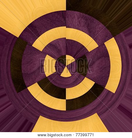abstract wooden sample wheel with partridge, boxwood and purple heart