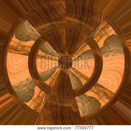 Abstract design with light and dark wood