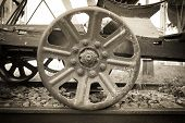 stock photo of train-wheel  - image of old Steam train wheels  - JPG