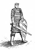 pic of armor suit  - Russian warrior in armor with sword and shield - JPG