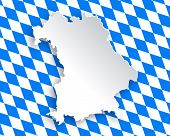 foto of bavaria  - Detailed and accurate illustration of map and flag of Bavaria - JPG