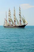picture of passenger ship  - beautiful old sailing ship on the high seas