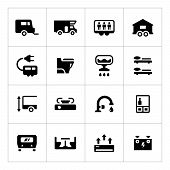 picture of campervan  - Set icons of camper caravan trailer isolated on white - JPG