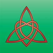 picture of triquetra  - Celtic endless knot red on a green background - JPG