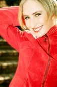 Happy blond in red poster