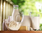 picture of milk products  - Dairy products on old wooden table - JPG