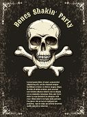 image of skull crossbones  - Template posters for the party - JPG