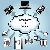 image of blue things  - Simple Internet of Things Concept Graphic Design with Text Inside the Clouds Emphasizing Data Exchange From Home Appliances on Very Light Blue Gray Background - JPG