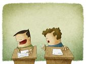 image of cheater  - funny illustration of student trying to cheat at exam - JPG
