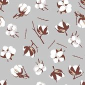 picture of boll  - Cotton bolls gray seamless vector pattern - JPG