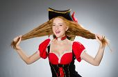 picture of pirate hat  - Woman pirate wearing hat and costume - JPG