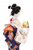 image of geisha  - Side view of traditional Japanese geisha doll - JPG