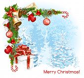 image of candy cane border  - Decorative border from with traditional  Christmas objects - JPG
