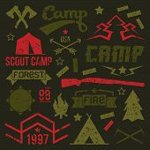 image of wigwams  - Scout camp badges in retro style - JPG