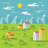 pic of landscape architecture  - Landscape with buildings  - JPG