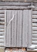 stock photo of laplander  - Barn door covered with frost - JPG