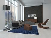 foto of couch  - 3D Rendering of Architectural Lounge Room Design with Glass Windows - JPG
