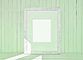 stock photo of mosk  - White canvas on green wooden plank background - JPG