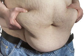 stock photo of bulging belly  - overweight Man pinching his belly fat isolated on white backgound - JPG