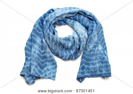 silk blue scarf isolated on white background