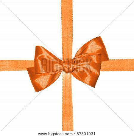Orange Ribbon And Bow Isolated On White Background