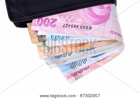 Turkish Money And Wallet On White Background
