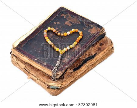 Manuscript Holy Quran And Muslim Prayer Beads