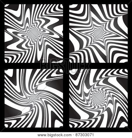 Torsion movement illusion. Abstract designs set. Vector art.
