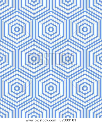 Seamless blue hexagons pattern. Vector art.