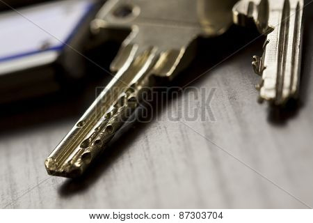 Macro Shot Of Keys On Top Of The Table