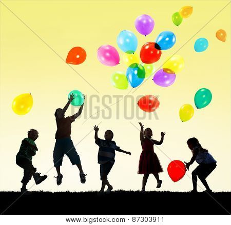 Children Kids Happiness Multiethnic Group Cheerful Playing Concept