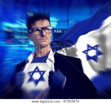 Superhero Businessman Israeli Stock Market Concept