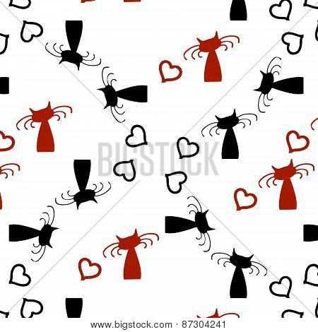 Cute Cartoon Black Cats With Red Hearts